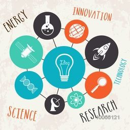 Illustration of a light bulb with various science signs and symbols on grungy background.