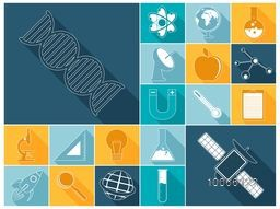 Set of creative signs and symbols of science on colorful background.