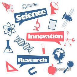 Stylish sticker tag or label design with various elements of science on grey background.