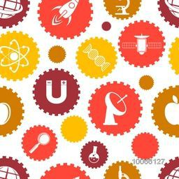 Stylish pattern with various colorful science signs and symbols.