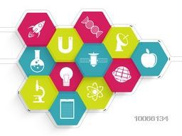 Stylish colorful sticker, tag or label design with Science signs and symbols on shiny background.