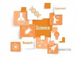 Set of creative Science signs and symbols, can be used as sticker, tag or label design.