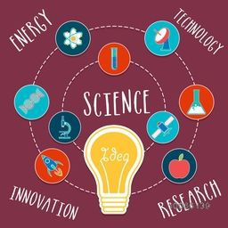 Set of various colorful symbols of Science with illustration of light bulb.