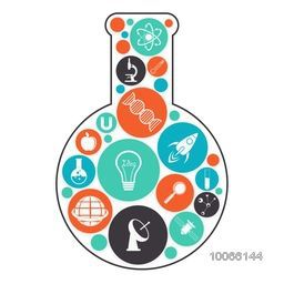 Various colorful Science signs and symbols in a laboratory flask on shiny background.