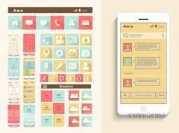 A complete presentation of user interface with web layout and mobile icons on beige background.