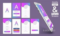 Mobile Login and Sign Up Screens, Material Design, UI, UX and GUI template layout with smartphone presentation.