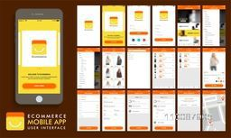E-Commerce, Online Shopping UI, UX and GUI template layout including Product Category, Product Details and Place Order Screens for e-business responsive website and mobile apps.