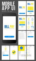 Online Payment Mobile Apps UI, UX, GUI design with Sign Up, Sign In, Bill Details, Bill Pay, Profile and History Screens presentation.