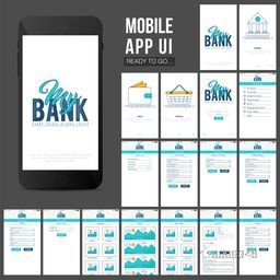Online Banking Mobile Apps UI, UX, GUI set with Wallet, Shopping, My Account, Fund Transfer, Mobile Recharge, Bill Payment, Products Details and Checkout Screens presentation.