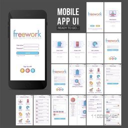 Material Design, UI, UX, GUI template for mobile apps, e-commerce business concept with Sign In, Sign Up, Projects Details, Submit Project, Search and Chat Screens.