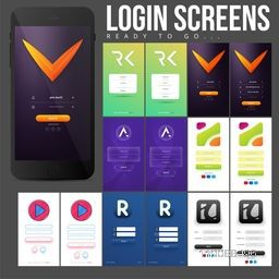 Material Design, UI, UX set of different creative Login Screens with flat web symbols for Mobile Apps.