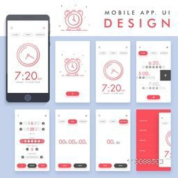 Material Design, UI, UX, GUI template layout for Clock Mobile Apps with Alarm, Timer and Stopwatch Screens presentation.