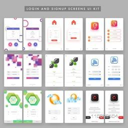 Different Mobile Login and Sign Up Screens set. Creative Material Design, UI, UX, GUI template for e-commerce business concept.