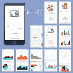 Material Design, UI, UX and GUI for business mobile apps with various screens presentation showing statistical infographic elements.