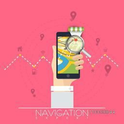 Human hand searching his destination by using navigation app in smartphone.