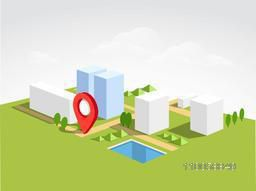 3D view of a city map with red pointer on nature background.