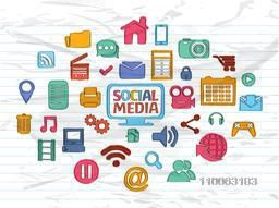 Collection of various colorful social media icons, signs or symbols on grungy notebook paper background for network communication concept.