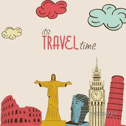 World famous monuments for showing Tour and Traveling concept.