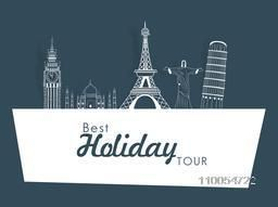 Best holiday tour concept with world famous monuments for Tour and Traveling.