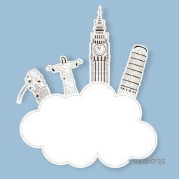 Sticker or label with world famous monument and space for your text on blue background for Tour and Travel concept.