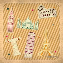 World famous monument stickers on seamless background for Tour and Traveling concept.