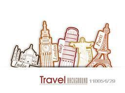 Tour and Travel background with world famous monument for world travel.