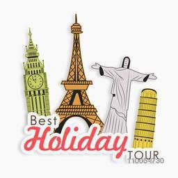 Best holiday tour concept with world famous monument on white background.