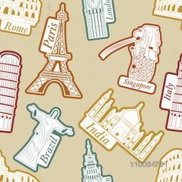 Travel and tourism background with world famous monuments.