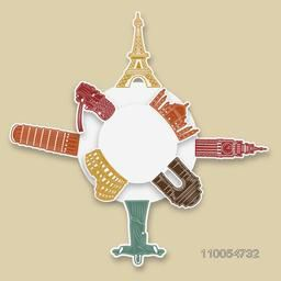 Blank sticker for your text with world famous monuments for Tour and Traveling concept on beige background.