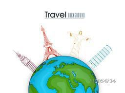 Tour and Traveling background with world famous monuments around world globe on beige background.