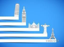 Paper presentation of world famous monuments for Tour and Traveling concept on blue background.