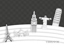 Stylish presentation of world famous monuments for Tour and Travel concept.