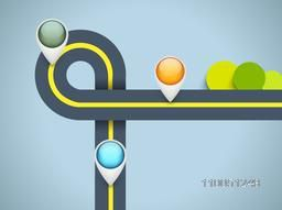 Traffic signal lights in stylish shape of orange, dark sea green and skyblue colour on shiny light sea blue colour background.