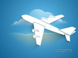 Airplane takeoff, vector illustration.