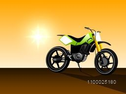 A vector illustration of green color motorcycle.