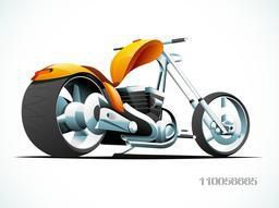 Glossy chopper sports motorbike design on shiny background.