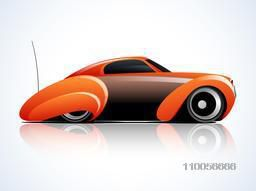 Right side view of a glossy high speed sports car design on shiny background.