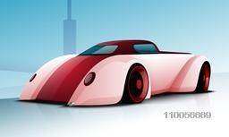 Glossy high speed sports car design in pink color on sky blue background.