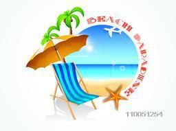 Stylish text of Beach Paradise and beach spot for Travel showing on colourful beach background.
