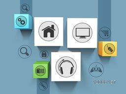 Set of shiny 3D web icons on blue background for technology concept.