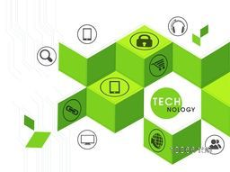Technology concept with web icons on abstract hi-tech background.