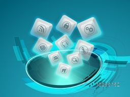 Creative shiny web icons on shiny hi-tech, abstract blue background for technology concept.