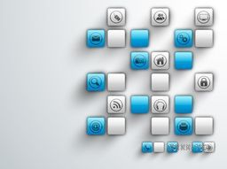 Set of shiny web icons on grey background for Technology concept.