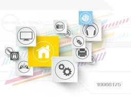 Shiny sticker, tag or label design with various web icons colorful abstract background.