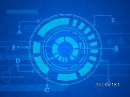 Hi-tech technology circle on abstract blue background.