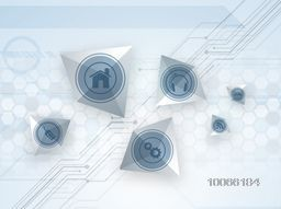 Shiny web icons on hi-tech abstract background for Technology concept.