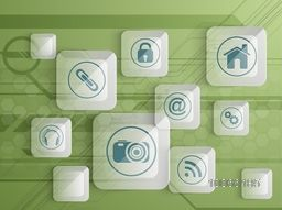 Set of various shiny web icons on hi-tech green background for Technology concept.