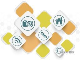 Stylish web icons on colorful abstract background for Technology concept.