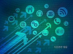 Technology concept with illustration of various web icons on hi-tech background.
