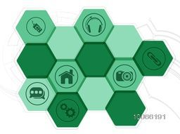 Web icons on hi-tech abstract background for Technology concept.